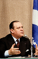 Lors de sa visite officielle au Québec, le 12 février 1979 ;  Raymond Barre devient le premier Premier Ministre français à prononcer un discours à l'Assemblée nationale, a Quebec.<br /> <br /> PHOTO :   Agence Quebec Presse