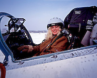 Moscow, Russia, 1997. Businesswoman Ludmilla Kazieva in a Sukhoi fighter jet.