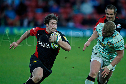 07.11.2010 Adam Powell breaks the Northampton defence.  Saracens v Northampton Saints, Vickarage Road, LV= Cup.  Final score Saracens 22-22 Northampton.