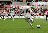 Pictured: Stephen Dobbie of Swansea scoring his opening goal. Saturday 07 May 2011<br /> Re: Swansea City FC v Sheffield United, npower Championship at the Liberty Stadium, Swansea, south Wales.