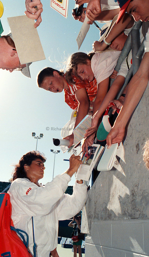 Photo. Steve Holland.Australian Open at Melbourne. 1991..Gabriela Sabatini signs autographs.