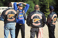 "- gathering of ""bikers"" motorcyclists group  Hells Angels on hills of Oltrepo Pavese ....- raduno del gruppo di motociclisti ""bikers"" Hells Angels sulle colline dell'Oltrepo Pavese"