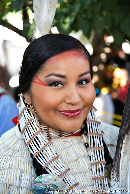Lauren Goodday Fran, an Arikana-Blackfeet-Cree from North Dakota, waits her turn to participate in the Native American Costume Contest at  the 2009 Santa Fe Indian Market.