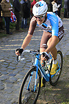 Alexis Gougeard (FRA) AG2R La Mondiale climbs Oude Kwaremont during the 60th edition of the Record Bank E3 Harelbeke 2017, Flanders, Belgium. 24th March 2017.<br /> Picture: Eoin Clarke | Cyclefile<br /> <br /> <br /> All photos usage must carry mandatory copyright credit (&copy; Cyclefile | Eoin Clarke)