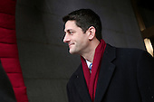 United States Representative Paul Ryan (Republican of Wisconsin) arrives for the presidential inauguration on the West Front of the U.S. Capitol January 21, 2013 in Washington, DC.   Barack Obama was re-elected for a second term as President of the United States.   .Credit: Win McNamee / Pool via CNP