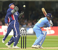 .29/06/2002.Sport - Cricket - .NatWest triangler Series England - Sri Lanka - India.England vs india 50 overs.  Lord's ground.India batting -  Virender Sehwag,  skies the ball, for Alex Stewart to fumble...