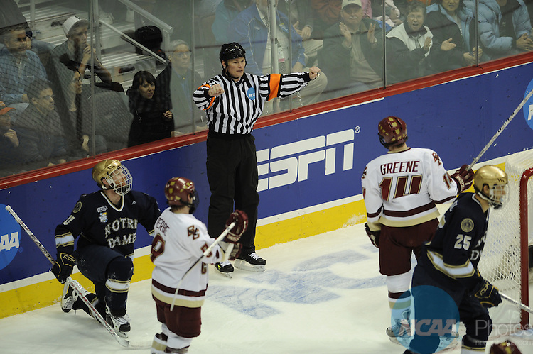 12 APR 2008: Notre Dame takes on Boston College during the Division I Men's Ice Hockey Championship held at the Pepsi Center in Denver, CO. Boston College defeated Notre Dame 4-1 to claim the championship title. Ryan McKee/NCAA Photos