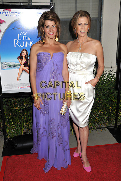 """NIA VARDALOS & RITA WILSON.""""My Life in Ruins"""" Los Angeles Special Screening held at 20th Century Fox Studios, Century City, CA, USA..May 29th, 2009.full length purple long maxi strapless dress pattern silver clutch bag white pink shoes .CAP/ADM/BP.©Byron Purvis/AdMedia/Capital Pictures."""