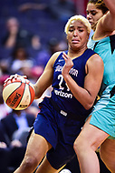 Washington, DC - June 15, 2018: Washington Mystics forward Tianna Hawkins (21) drives to the basket during game between the Washington Mystics and New York Liberty at the Capital One Arena in Washington, DC. (Photo by Phil Peters/Media Images International)