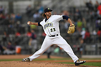 Pitcher Keaton Aldridge (23) of the Columbia Fireflies delivers a pitch in game one of a doubleheader against the Rome Braves on Saturday, August 19, 2017, at Spirit Communications Park in Columbia, South Carolina. Rome won, 8-2. (Tom Priddy/Four Seam Images)