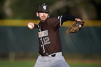 St. Bonaventure Bonnies relief pitcher Roman Wild (12) delivers a pitch during a game against the Dartmouth Big Green on February 25, 2017 at North Charlotte Regional Park in Port Charlotte, Florida.  St. Bonaventure defeated Dartmouth 8-7.  (Mike Janes/Four Seam Images)