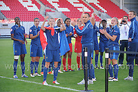 The victorius French team applaude the runners up England at the UEFA Womens U19 Final at Parc y Scarlets Saturday 31st August 2013. All images are the copyright of Jeff Thomas Photography-www.jaypics.photoshelter.com-07837 386244-Any use of images must be authorised by the copyright owner.