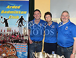 Peter Carolan, Leanna Cusack and Ciaran Carry from Ardee Badminton Club pictured at the Enterprise day in Ardee parish centre. Photo:Colin Bell/pressphotos.ie