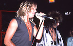 Vince Neil & Nikki Sixx of Motley Crue  at The Roxy in Hollywood Aug 1986.