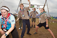"Scouts from Wales playing Ninja. ""We are addicted to this game"". All over the camp there are scouts playing the Ninja."