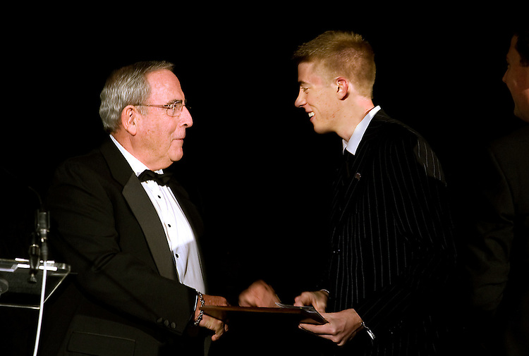 Joel Rudy award Ohio University student, Matthew Denhart, The Rudy Leadership Award for Outstanding Student Leadership during the 26th Annual Leadership Awards Gala held at Ohio University Wednesday.