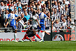 Ellis Harrison of Bristol Rovers (left) scores his team's first goal against Grimsby Town to make it 1-1 during the 2015 Vanarama Conference Promotion Final match between Grimsby Town and Bristol Rovers at Wembley Stadium, London<br /> Picture by David Horn/eXtreme aperture photography +44 7545 970036<br /> 17/05/2015