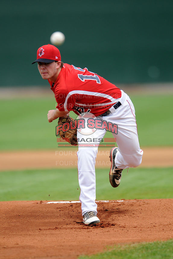 Lowell Spinners starting pitcher Daniel McGrath #12 during a game versus the Hudson Valley Renegades at LeLacheur Park in Lowell, Massachusetts on August 18, 2013.  (Ken Babbitt/Four Seam Images)