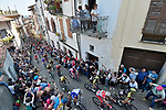 The peloton including Maglia Rosa Valerio Conti (ITA) UAE Team Emirates climb the Muro of Via Principi di Acaja in Pinerolo near the end of Stage 12 of the 2019 Giro d'Italia, running 158km from Cuneo to Pinerolo, Italy. 23rd May 2019<br /> Picture: Fabio Ferrari/LaPresse | Cyclefile<br /> <br /> All photos usage must carry mandatory copyright credit (© Cyclefile | Fabio Ferrari/LaPresse)
