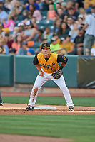 Matt Thaiss (17) of the Salt Lake Bees on defense against the New Orleans Baby Cakes at Smith's Ballpark on June 11, 2018 in Salt Lake City, Utah. New Orleans defeated Salt Lake 6-5.  (Stephen Smith/Four Seam Images)