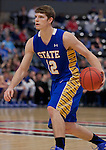 OMAHA, NE - January 10, 2015 -- Keaton Moffitt (12) of South Dakota State drives down court during the first half of their game against UNO Saturday evening at the Ralston Arena in Ralston, NE. (Photo By Ty Carlson / DakotaPress)