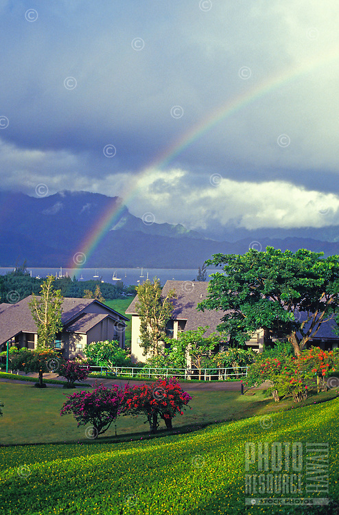 North shore Kauai homes with Hanalei Bay in background