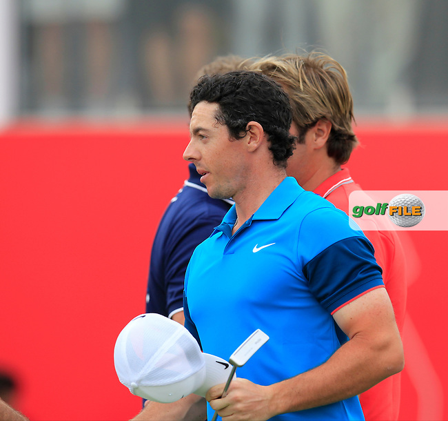 Rory McIlroy (NIR) finishes on the 18th green during Sunday's Final Round of the Abu Dhabi HSBC Golf Championship 2015 held at the Abu Dhabi Golf Course, United Arab Emirates. 18th January 2015.<br /> Picture: Eoin Clarke www.golffile.ie