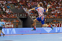 08.09.2012 MADRID, SPAIN -  XXVII Supercopa Asobal match played between BM At. Madrid vs F.C. Barcelona Intersport (31-34) at Palacio Vistalegre stadium. The picture show Jonas Kallman (BM Atletico de Madrid)