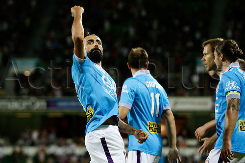 20.02.2016, Perth, Australia. Hyundai A-League, Perth Glory versus Brisbane Roar. Perth Glory players celebrate with Diego Castro after he put his penalty shot into the back of the net for their 4th goal. Perth Glory defeated Brisbane Roar 6-3.