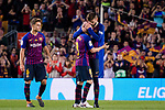 Andres Iniesta of FC Barcelona (C) hugs his teammate Gerard Pique Bernabeu (R) before leaving the field during the La Liga match between Barcelona and Real Sociedad at Camp Nou on May 20, 2018 in Barcelona, Spain. Photo by Vicens Gimenez / Power Sport Images