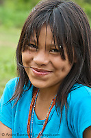 Machiguenga girl, Tayakome native communitiy, lowland tropical rainforest, Manu National Park, Madre de Dios, Peru.
