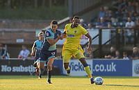 Luke O'Nien of Wycombe Wanderers battles Liam Trotter of AFC Wimbledon during the Friendly match between Wycombe Wanderers and AFC Wimbledon at Adams Park, High Wycombe, England on 25 July 2017. Photo by Andy Rowland.