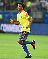 SALVADOR – BRASIL, 15-06-2019: Juan Cuadrado de Colombia calienta previo al partido de la Copa América Brasil 2019, grupo B, entre Argentina y Colombia jugado en el Itaipava Fonte Nova Arena de la ciudad de Salvador, Brasil. / Juan Cuadrado of Colombia warms up prior the Copa America Brazil 2019 group B match between Argentina and Colombia played at Itaipava Fonte Nova Arena in Salvador, Brazil. Photos: VizzorImage / Julian Medina / Cont / FCF