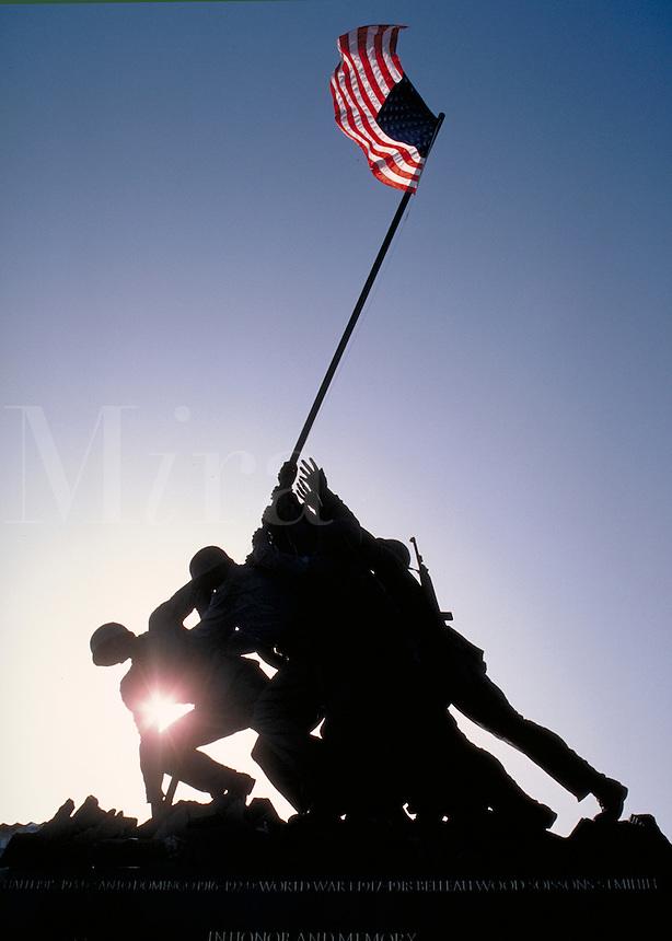 The Iwo Jima Memorial to US Marines at Arlington, VA. National Parks, Military, Historical, Washington DC Area. Arlington Virginia USA Washington DC Metro Area.