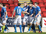 St Johnstone v Hamilton Accies&hellip;28.01.17     SPFL    McDiarmid Park<br />Graham Cummins celebrates his first goal with Paul Paton, Brian Easton and Blair Alston<br />Picture by Graeme Hart.<br />Copyright Perthshire Picture Agency<br />Tel: 01738 623350  Mobile: 07990 594431