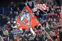 New York Red Bulls fans celebrate at the end of of a Major League Soccer match between the New York Red Bulls and the Chicago Fire at Red Bull Arena in Harrison, NJ, on March 27, 2010. The Red Bulls defeated the Fire 1-0.
