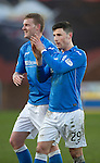Dundee United v St Johnstone.....21.02.15<br /> Goalscorer Michael O'Halloran and Brian Easton applaud the fans<br /> Picture by Graeme Hart.<br /> Copyright Perthshire Picture Agency<br /> Tel: 01738 623350  Mobile: 07990 594431