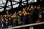 Ipswich Town 0, Oxford United 1, 22/02/2020. Portman Road, SkyBet League One. Visiting fans celebrating their team's goal during the first-half action as Ipswich Town play Oxford United in a SkyBet League One fixture at Portman Road. Both teams were in contention for promotion as the season entered its final months. The visitors won the match 1-0 through a 44th-minute Matty Taylor goal, watched by a crowd of 19,363. Photo by Colin McPherson.