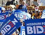 "Former Vice-President Joe Biden speaks at a Get Out The Vote rally at Kiener Plaza in downtown St.Louis, Missouri, USA.The statue at left is entitled ""The Runner"" and was placed there in honor of Harry Kiener, a former St. Louis Olympian for whom the plaza is named. <br /> <br /> Tim VIZER/AFP"