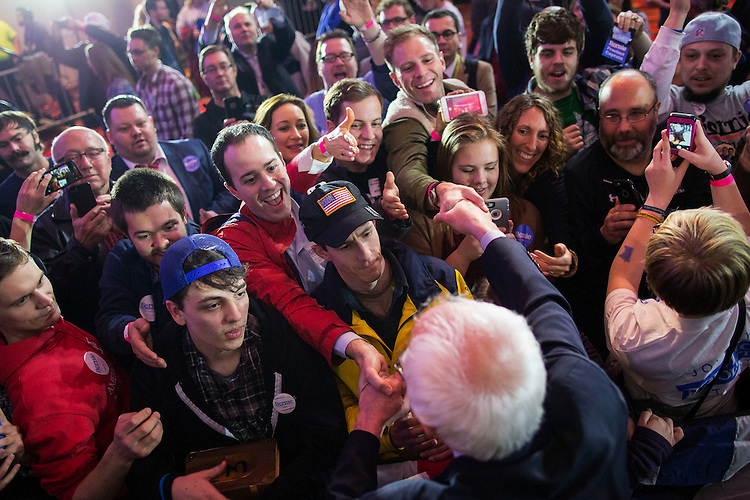 UNITED STATES - FEB 1. - Democratic presidential candidate Sen. Bernie Sanders, I-Vt., greets supporters on the rope line at his caucus night rally at the Holiday Inn Des Moines Airport and Conference Center, on Monday, Feb. 1, 2016 in Des Moines, Iowa. (Photo By Al Drago/CQ Roll Call)