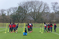 Players exercise on the pitch during the Swansea City Training at The Fairwood Training Ground, Swansea, Wales, UK. Thursday 04 January 2018