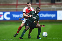Plymouth Argyle's Freddie Ladapo vies for possession with Fleetwood Town's Ashley Eastham<br /> <br /> Photographer Richard Martin-Roberts/CameraSport<br /> <br /> The EFL Sky Bet League One - Fleetwood Town v Plymouth Argyle - Saturday 16th March 2019 - Highbury Stadium - Fleetwood<br /> <br /> World Copyright © 2019 CameraSport. All rights reserved. 43 Linden Ave. Countesthorpe. Leicester. England. LE8 5PG - Tel: +44 (0) 116 277 4147 - admin@camerasport.com - www.camerasport.com