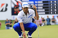 Hideki Matsuyama (JPN) on the 9th green during Sunday's Final Round of the WGC Bridgestone Invitational 2017 held at Firestone Country Club, Akron, USA. 6th August 2017.<br /> Picture: Eoin Clarke | Golffile<br /> <br /> <br /> All photos usage must carry mandatory copyright credit (&copy; Golffile | Eoin Clarke)