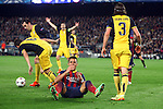 UEFA Champions League 2013/2014.<br /> Quarter-finals 1st leg.<br /> FC Barcelona vs Club Atletico de Madrid: 1-1.<br /> Koke, Alexis &amp; Filipe Luis.