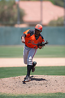 San Francisco Giants Orange relief pitcher Yoel Veras (67) follows through on his delivery during an Extended Spring Training game against the Oakland Athletics at the Lew Wolff Training Complex on May 29, 2018 in Mesa, Arizona. (Zachary Lucy/Four Seam Images)