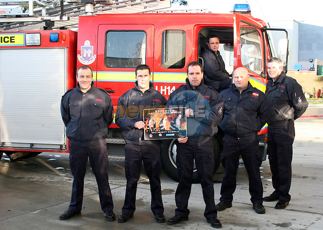 Sub Officer Karl Carton and Firefighters, Damien McKenna, Shane Clinton, Declan Heeney, Kevin Cunningham and John McKevitt promoting their new calendar...Photo NEWSFILE/Jenny Matthews.(Photo credit should read Jenny Matthews/NEWSFILE)....This Picture has been sent you under the condtions enclosed by:.Newsfile Ltd..The Studio,.Millmount Abbey,.Drogheda,.Co Meath..Ireland..Tel: +353(0)41-9871240.Fax: +353(0)41-9871260.GSM: +353(0)86-2500958.email: pictures@newsfile.ie.www.newsfile.ie.FTP: 193.120.102.198.