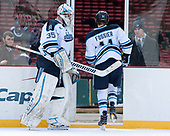 Rob McGovern (Maine - 35), Mitchell Fossier (Maine - 11) - The University of Maine Black Bears defeated the University of Connecticut Huskies 4-0 at Fenway Park on Saturday, January 14, 2017, in Boston, Massachusetts.
