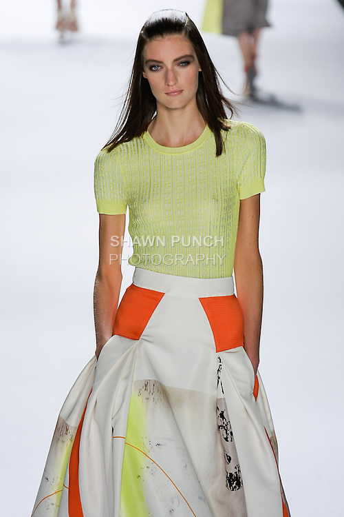 Marikke walks runway in an outfit from the Carolina Herrera Spring 2013 Timeless Influence collection, during Mercedes-Benz Fashion Week Spring 2013 in New York City.