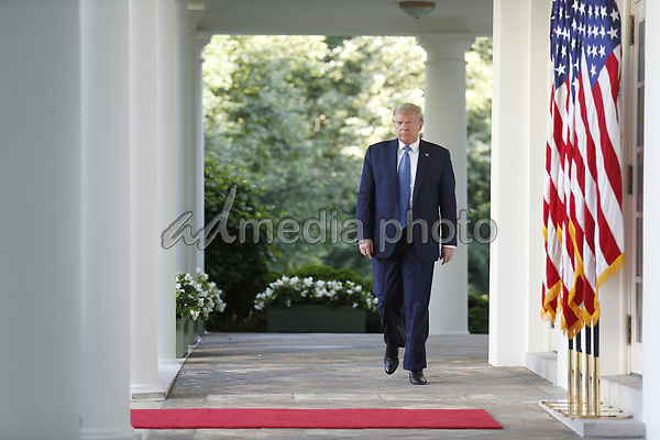 US President Donald J. Trump arrives to deliver remarks in the Rose Garden at the White House in Washington, DC, USA, 01 June 2020. Trump addressed the nationwide protests following the death of George Floyd in police custody.<br /> Credit: Shawn Thew / Pool via CNP/AdMedia
