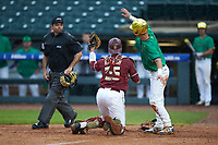 Florida State Seminoles catcher Cal Raleigh (35) and Jake Shepski (0) of the Notre Dame Fighting Irish look to home plate umpire Olindo Mattia for the call during Game Four of the 2017 ACC Baseball Championship at Louisville Slugger Field on May 24, 2017 in Louisville, Kentucky. The Seminoles walked-off the Fighting Irish 5-3 in 12 innings. (Brian Westerholt/Four Seam Images)
